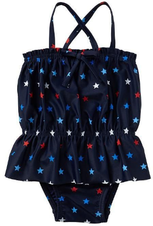 This  GAP Printed peplum one-piece has spaghetti straps crisscross at back, ruffle trim and decorative bow at straight neckline, flared peplum hem, and allover Star Print. This is a perfect Swimsuit for your All American Girl!