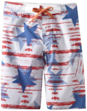 These  Charlie Rocket Boys Stars N Stripe Swim Short are in a cool Allover Stars and Stripes Pattern.