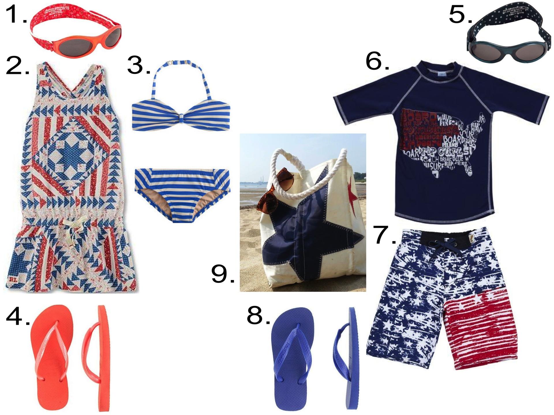 4th of July at the Beach...  1.  Baby Banz Adventure Banz Kidz  2.  Ralph Lauren Patchwork Dress  3.  J.Crew BIKINI SET IN THIN STRIPE  4. KIDS' HAVAIANAS® SLIM FLIP-FLOPS  5.  Baby Banz Adventure Banz Kidz  6.  Charlie Rocket USA Map Rashguard  7.  Charlie Rocket Flag Swim Shorts  8.  KIDS' HAVAIANAS® TOP FLIP-FLOPS  9.  Sea Bags Two Star Tote