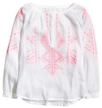 This  H&M Embroidered Cotton Blouse  is a long-sleeved Boho Blouse in crinkled, woven cotton fabric with lovely embroidery.  It is a beautiful Boho Blouse for a Great Price. I love it, and wish H&M had this embellished Boho Blouse for women too!