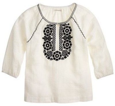 This  J.Crew BREEZY EMBROIDERED TUNIC  is light as air with vintage-inspired embroidery— your little one will be ready for the beach or anywhere this Summer in this Boho Blouse.