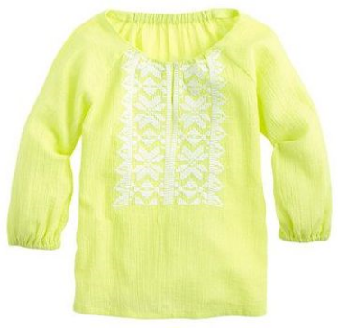 This  J.Crew NEON EMBROIDERED GAUZE TOP  is a breezy layer in eye-popping neon with pretty embroidery.  It is a perfect Boho Blouse layered over tanks!