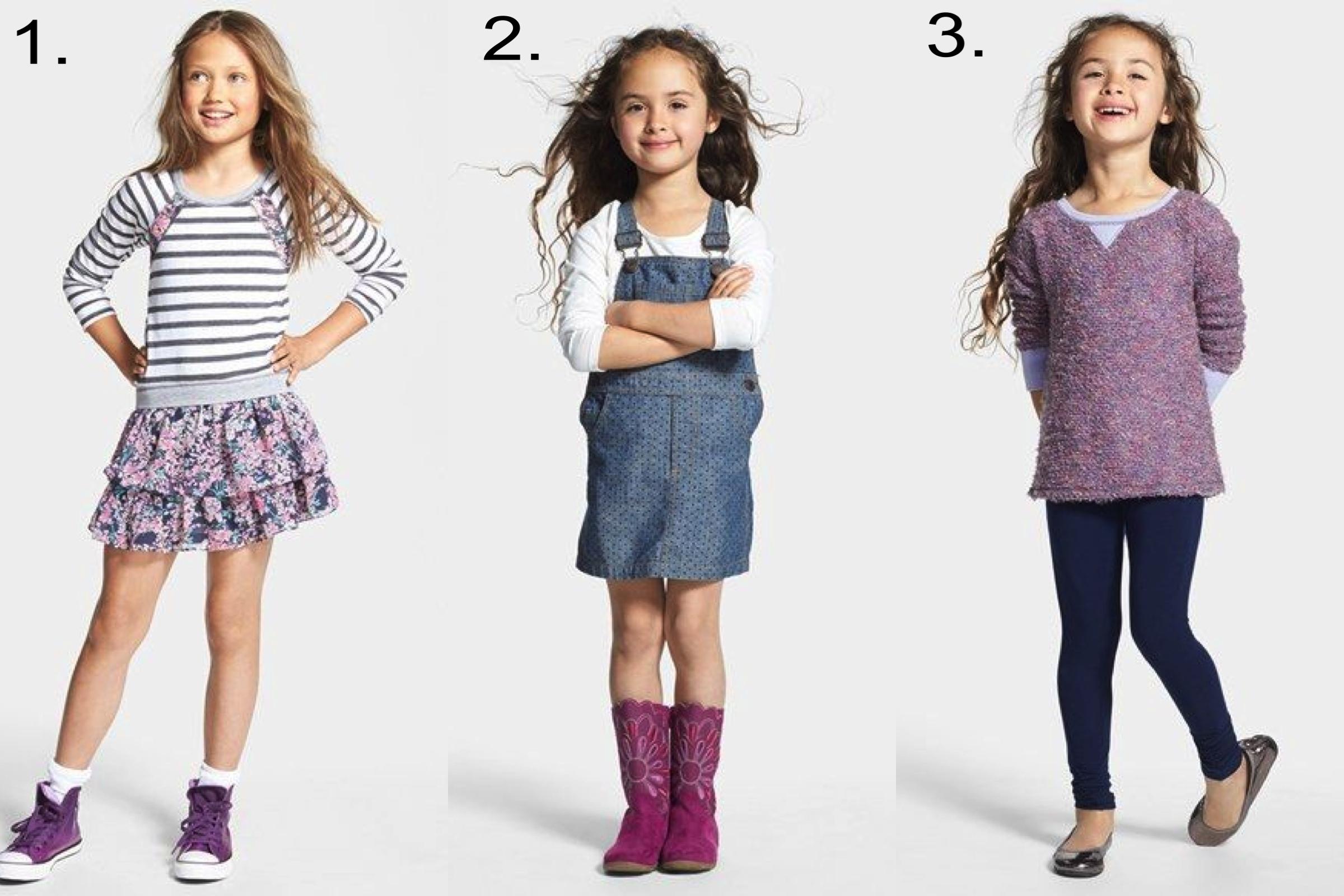 Favorite Girls' Sale @  nordstrom.com   1.  Truly Me Ruffle Dress & Converse High Top Sneaker   2.  Tucker + Tate Overall Dress & Long Sleeve Tee   3.  Splendid Tunic Top & Leggings, Ruby & Bloom Leather Flat