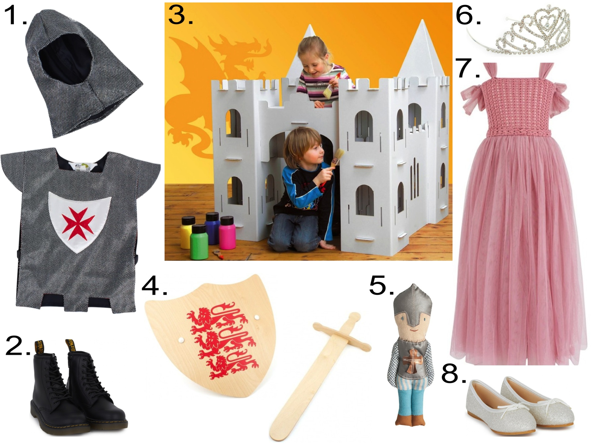 Fit for your little Knight or little Princess from    AlexandAlexa  1.  Lucy Locket Warrior Knight Tabbard  2.  Dr Martens Black Core Zip Shoes  3. Calafant Cardboard Calacastle  4.  Skipper Wooden Three Lions Shield And Sword Set  5.  Maileg Knight Rattle  6.  Lucy Locket Silver Tiara   7.  Numero 74 Scarlett Princess Dress  8.  Rainbow Club Hessy Glitter Shoes