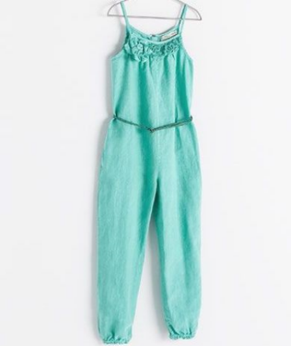 Zara JUMPSUIT WITH BELT  - This Bright Sea Green Jumpsuit has lace and 3-D flowers at the neckline and a braided belt at the waist.