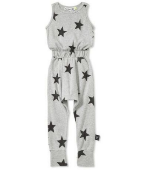 Nununu Baby long star romper -Heather grey Jumpsuit with black stars print and elastic waistband and a wide cuff at the hem.