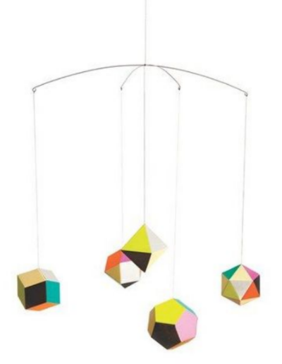 ARTECNICA 'Themis' Mobile  - This is a delicate geometric mobile inspired by planets and polyhedra alike. Composed of five multifaceted paper ornaments, the mobile rotates in a striking mélange of rich neutrals and vivid neons—making the design perfect for both a timeless or a contemporary nursery.