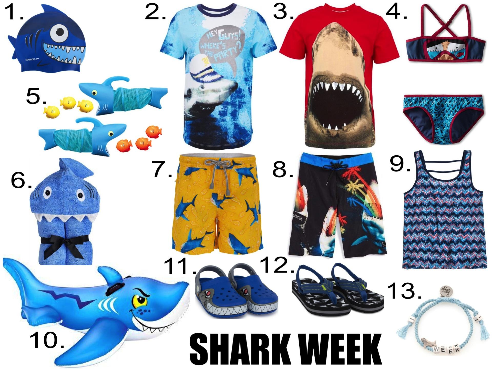 In the Water...  1.  JUNIOR SPEEDO SHARK CAP  2.  John Galliano Shark Print Tee  3.  Diesel Shark Tee  4.  Little Marc Jacobs Bikini Set  5.  Melissa & Doug Shark Hunt Toy  6.  Yikes Twins Child Hooded Towel  7.  MC2 St Barth Shark Print Swim Shorts  8.  'PX3 Carnivorous' Stretch Board Shorts  9.  ROXY GIRLS TANK  10.  Intex Friendly Shark Ride-On  11.  Robo Shark Light Up Crocs   12.     Reef Shark Fin Ahi Sandals   13.    VENESSA ARIZAGA 'Shark Week' bracelet
