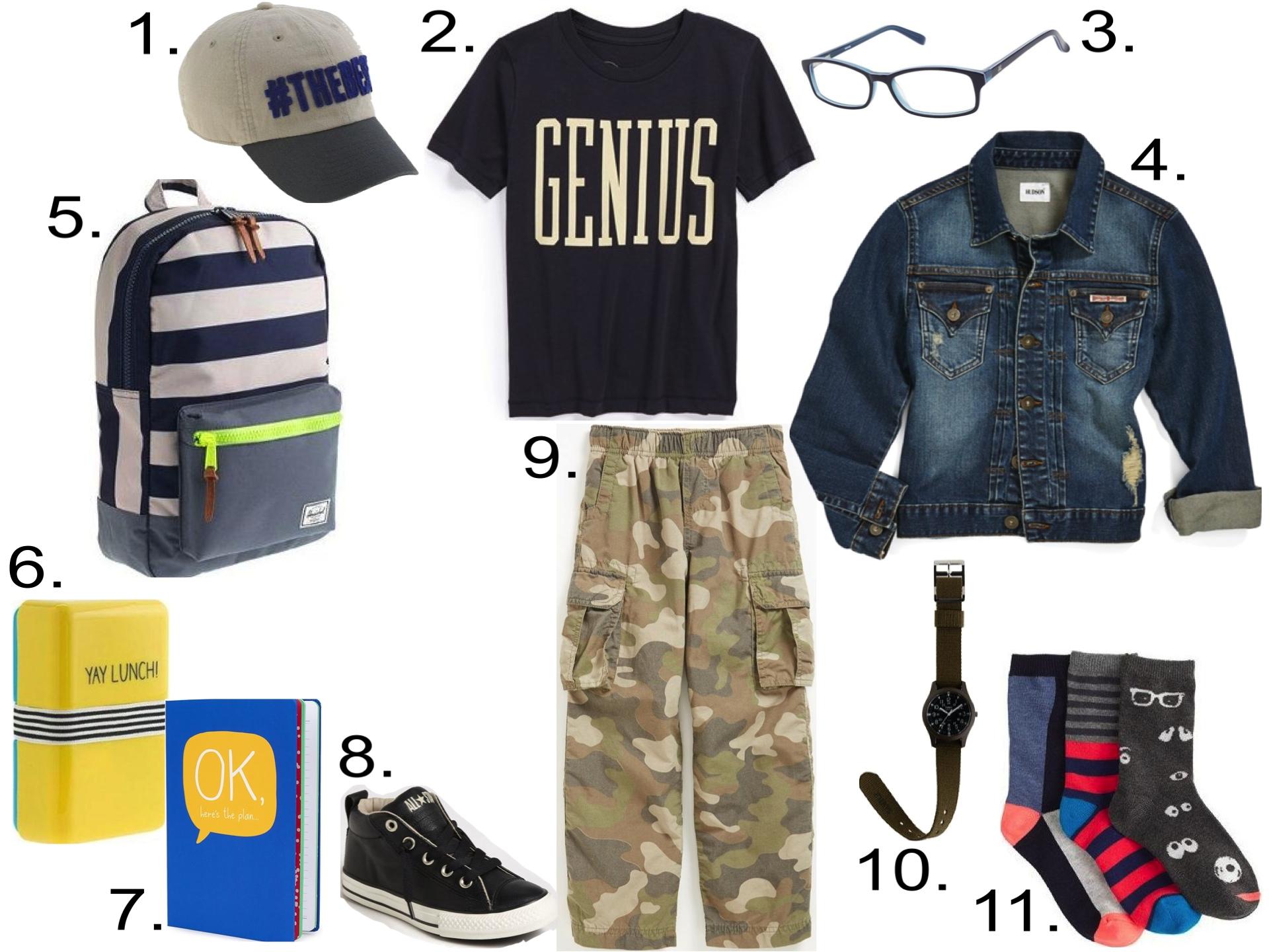 His 1st Day of School... 1.  J.Crew #THEBEST BASEBALL CAP  2.  Peek 'Genius' Graphic T-Shirt  3.  Zooventure Gummy Eyewear  4.  Hudson Kids Jean Jacket  5.  HERSCHEL SUPPLY CO.® FOR CREWCUTS BACKPACK  6.  HAPPY JACKSON™ YAY LUNCH BOX  7.  Happy Jackson Notebook  8.  Converse 'Street' Mid Sneaker  9. Tucker + Tate 'Zephyr' Camo Cargo Pants  10.  TIMEX® CAMPER WATCH WITH INTERCHANGEABLE STRAP  11.  J.Crew GOOGLY EYE TROUSER SOCKS PACK