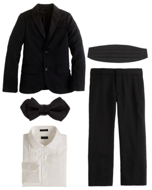 J.Crew LUDLOW PEAK LAPEL TUXEDO JACKET  &  LUDLOW TUXEDO PANT  is made from a fine Italian wool and is tailored just like Dad's, only smaller. It is special Tuxedo for special occasions, I think the jacket also looks cool worn with jeans and sneakers. It comes in two colors Black and Navy. To complete a Tuxedo he also needs a  SILK BOW TIE IN BLACK , a  LUDLOW TUXEDO SHIRT  and a  SATIN CUMMERBUND .
