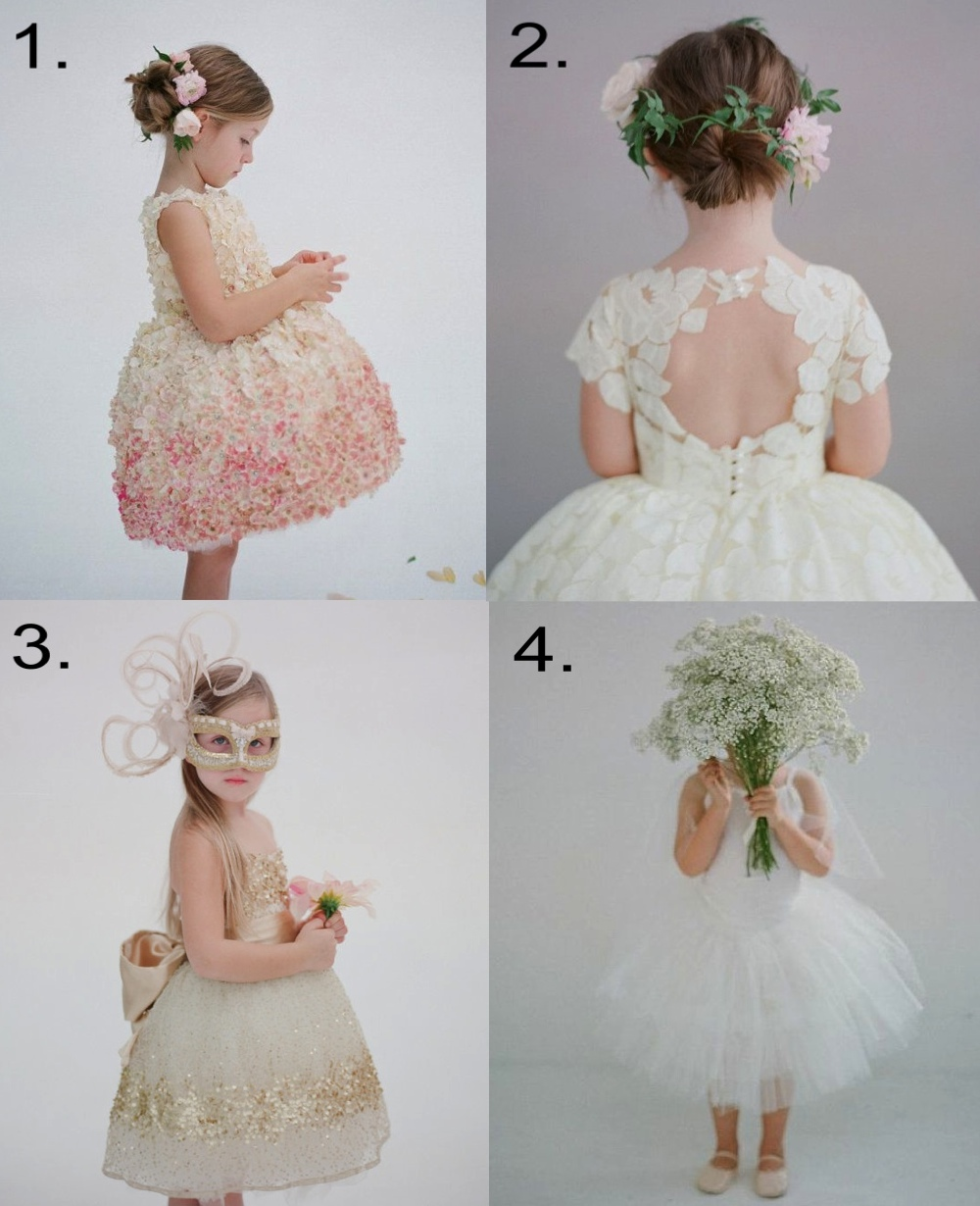 Doloris Petunia  (by Courtney Prince) on  etsy.com  makes to order the most amazingly beautiful Flower Girl Dresses, and she has dresses in all the four trends; 3-D floral appliqué, lace, embellished details and two-piece dresses... Dolores Petunia dresses will become a heirloom for your Flower Girl to treasure forever.  1.  Doloris Petunia The Pamela Flower Girl Dress  2.   Doloris Petunia  The Annabelle Flower Girl Dress  3.   Doloris Petunia  Gold Constellation Flower Girl Dress  4.   Doloris Petunia  The Allyson Flower Girl Tutu Skirt