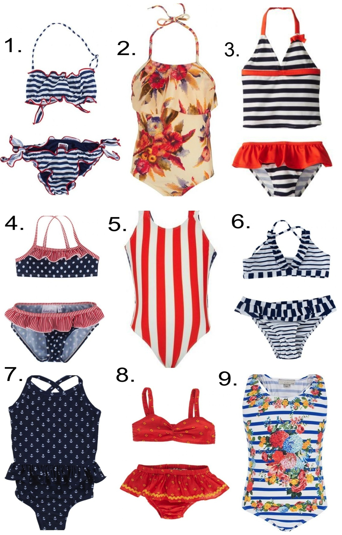 Girls Labor Day Swimsuits... 1.  MC2 St Barth Nautical Bandeau Frill Two-Piece  2.  Zimmermann Flare Halterneck Swimsuit  3.  Osh Kosh 2 Piece Striped Tankini   4.  Rachel Riley Polka Dot & Stripe Bikini  5.  Finger In The Nose American Flag Swimsuit  6.  Melissa Odabash Frill Stripe Bikini  7.  Egg by Susan Lazar Swimsuit  8.  Stella McCartney Kids Two-Piece  9.  Stella McCartney Stripe Flower Swimsuit