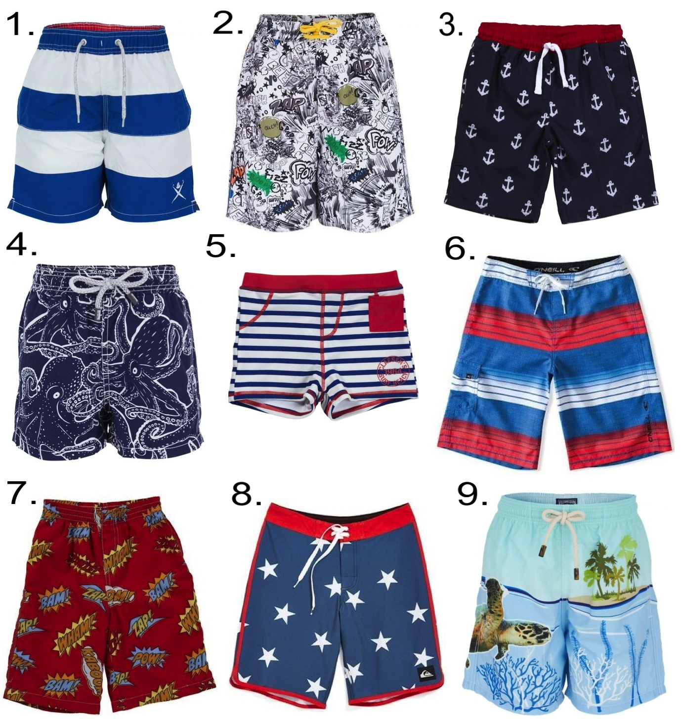 Boys Labor Day Swimwear... 1.  Hackett Stripe Swim Shorts  2.  Stella McCartney Kids Graffiti Print Swim Shorts  3.  Egg by Susan Lazar Board Shorts  4.  Vilebrequin Octopus Trunks  5.  Claesen's Swim Trunks  6.  O'Neill 'Santa Cruz Stripe' Board Shorts     7.  City Threads Comic Swim Trunk  8.  Quiksilver 'OG Retro' Board Shorts  9.  Vilebrequin Turtle Swim Shorts