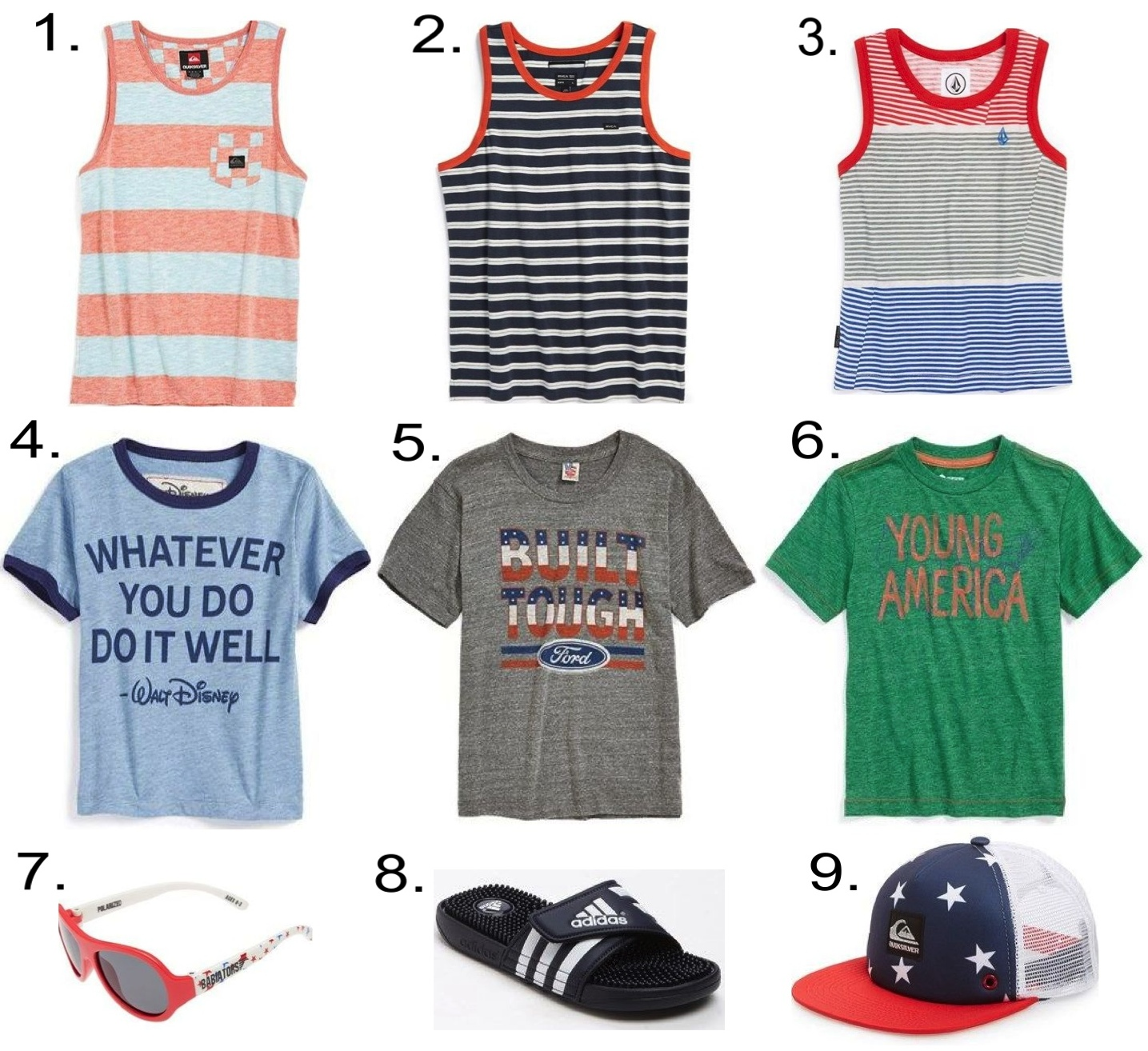 Boys Labor Day Striped Tank Tops, Statement Graphic T-Shirts and Summer Accessories... 1.  Quiksilver Tank    2.  RVCA Stripe Cotton Tank  3.  Volcom Stripe Tank      4.  Peek Graphic T-Shirt      5.  Junk Food Graphic T-Shirt      6.  Tucker + Tate Graphic T-Shirt  7.  Babiators Polarized Sunglasses      8.  adidas 'Adissage' Sandal  9.  Quiksilver Trucker Hat