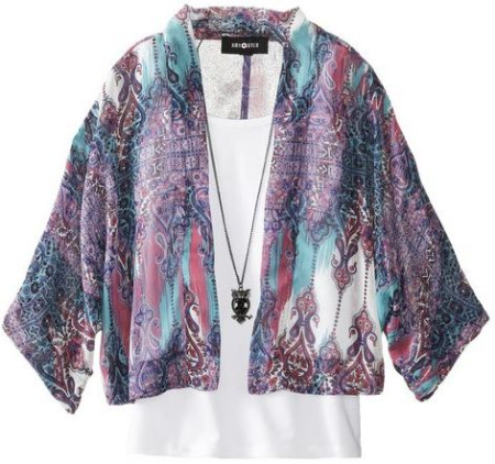 Amy Byer Chiffon Kimono with Layering Tank  - Multi Color Printed Kimono with attached 2fer layered tank and necklace.