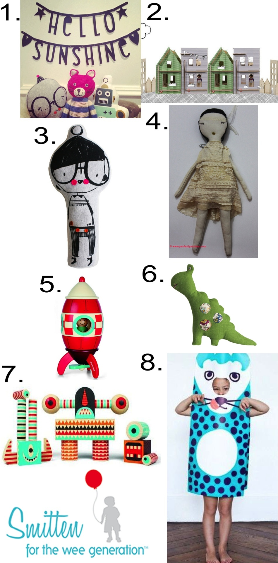 1.  LETTER BANNER  2.  LILLE CITY HOUSE SET  3.  WILBY SOFT TOY  4.  JESS BROWN RAG DOLL NO. 17   5.  MAGNETIC ROCKET KIT  6.  DRAGON RATTLE  7.  STACK & SCARE BLOCKS NO. 3  8.  LARGE PAPER COSTUME - PANTHER
