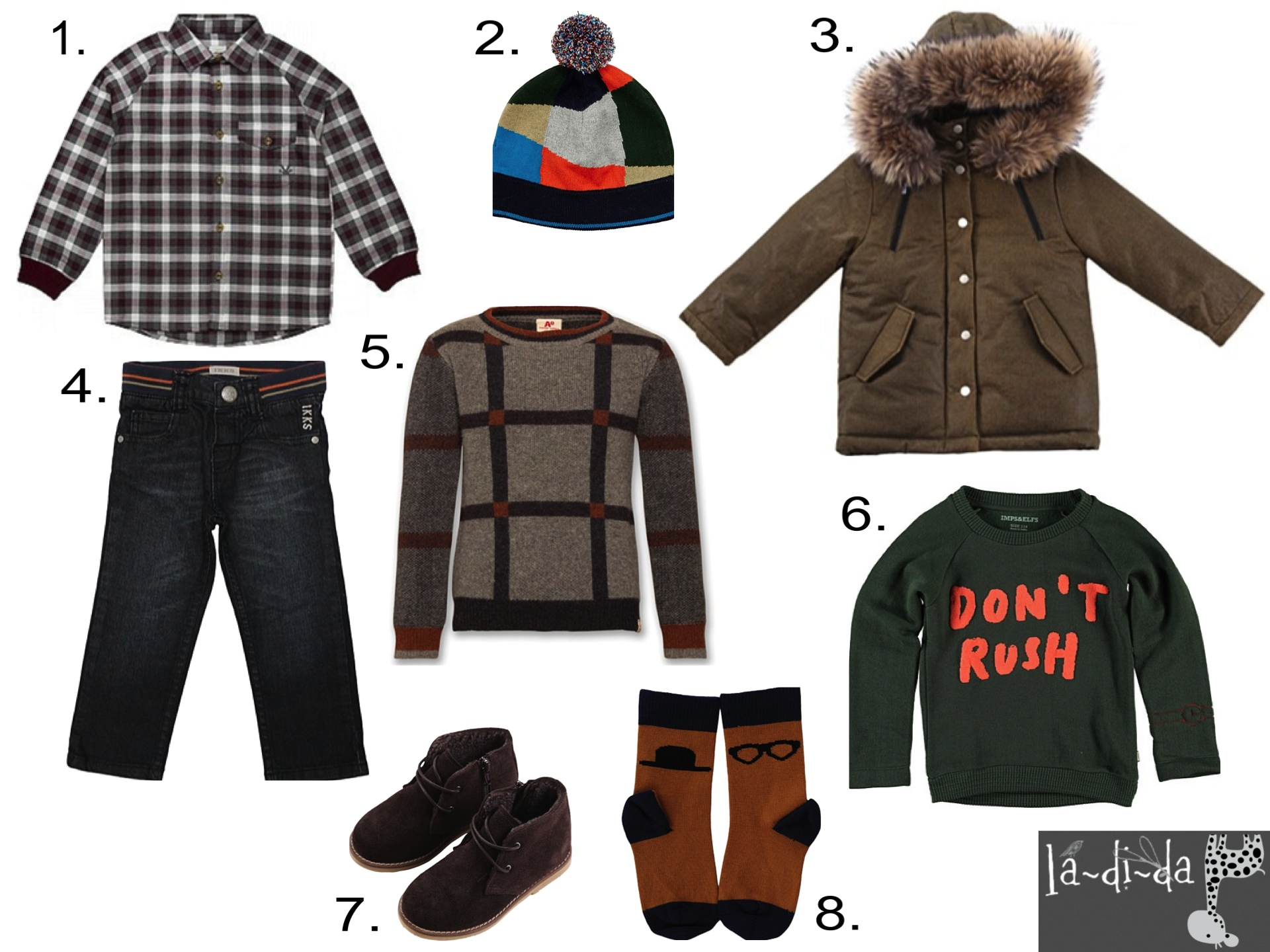"""Boys' Fall Favorites from LaDiDa  1.  No Added Check Top  2.  Paul Pom Pom Hat  3.  Anais Puffy Coat  4.  IKKS Jeans  5.  AO Check Sweater  6.   I mps """"Don't Rush"""" Sweats  7.  Anais Bootie  8.  Emile Socks"""