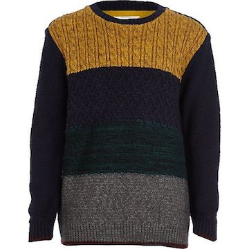 River Island Navy Block Knit Cable Sweater