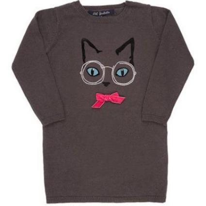 LILI GAUFRETTECat & Eyeglasses Embroidered Sweater Dress