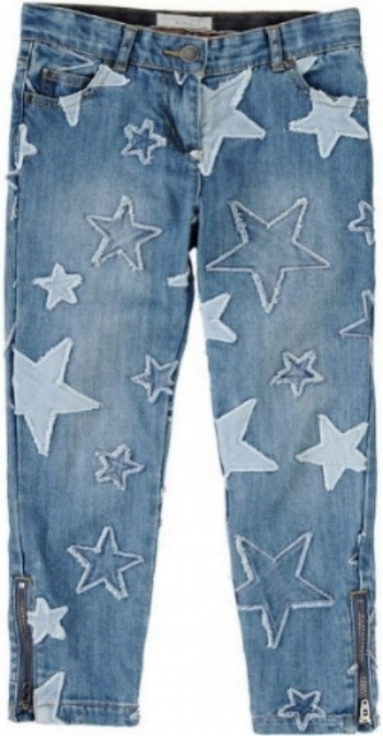 These Stella McCartney Kids  5 Pocket Stretch Denim Jeans are truly an amazing pair of jeans-- the Allover Stars are Patched Stars!These win a Gold Medal in my book for most Cool pair of Allover Star Jeans (patched denim is a big trend for Spring)! They are $135, if you can spend that for a kids pair of jeans Grab These! If you are crafty, these jeans are a great inspiration to create a pair of Allover Star Patched Jeans for your Little One, who will look Super Cool in their Star Patched Jeans that are Patched with Love!