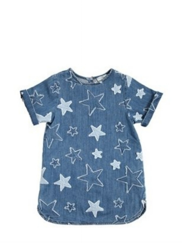 This Stella McCartney Kids  Stretch Denim Dress  is another work of art from the designer. Like her Jeans, these Allover Stars are Patched Stars and this dress is $140-- if you can spend that for a kids dress Grab It, and if you are crafty DIY!(Shift Denim Dresses is another big Trend in Denim for Spring I will post about later!)
