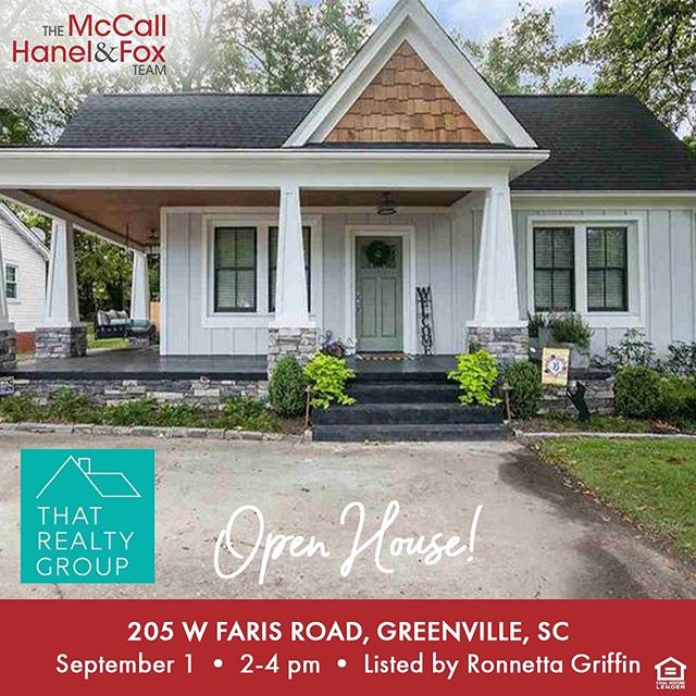 Stop by my Open House this coming Sunday, 2-4 PM to see this beautiful, totally updated bungalow in the Augusta Circle area, and enter to win a gift card to dine @theburrowgville while you're at it! ♥️ Many thanks to the @mccallhanelandfox team for sponsoring! 👏🏼👏🏼👏🏼 205 W. Faris Road, GVL 29605 {photos + details 👉🏼 link in profile}  Ronnetta Griffin | 864.884.8369 ronnetta@thatrealtygroupsc.com @thatrealtygroup  #whosTHATagent  #ronnettagriffin #goaboveandbeyond #sparkleandsell ✨ #THATrealtygroup #buying #selling #realestate #yeahTHATgreenville #greenvilleaboveandbeyond #THATSmyagent #that864agent  #bungalow #augustaroad
