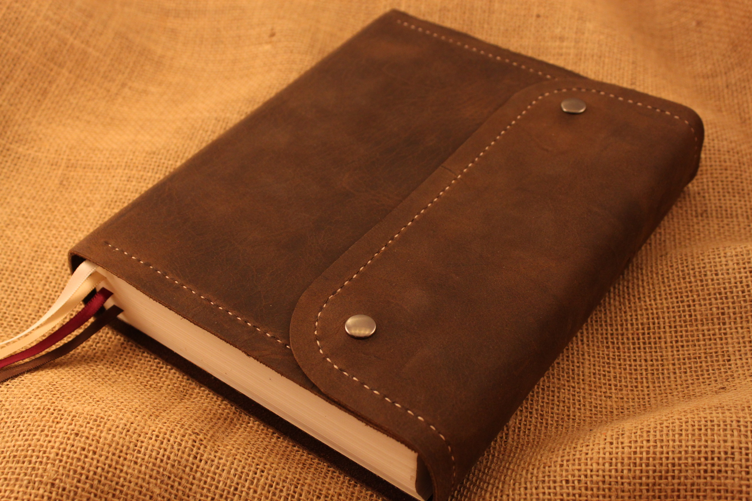 Beautiful distressed dark brown leather cover