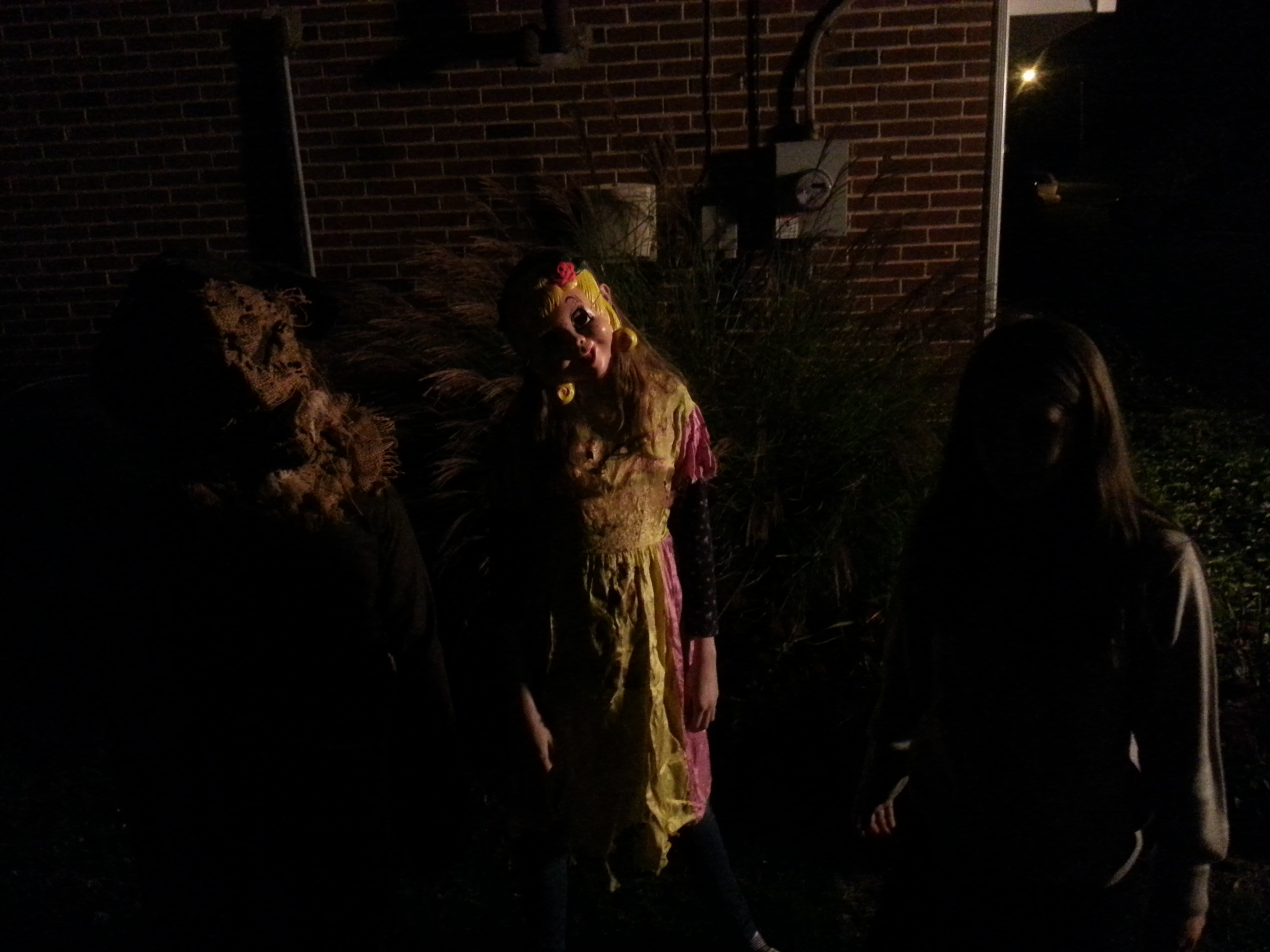 Creepy trick-or-treaters on set during filming