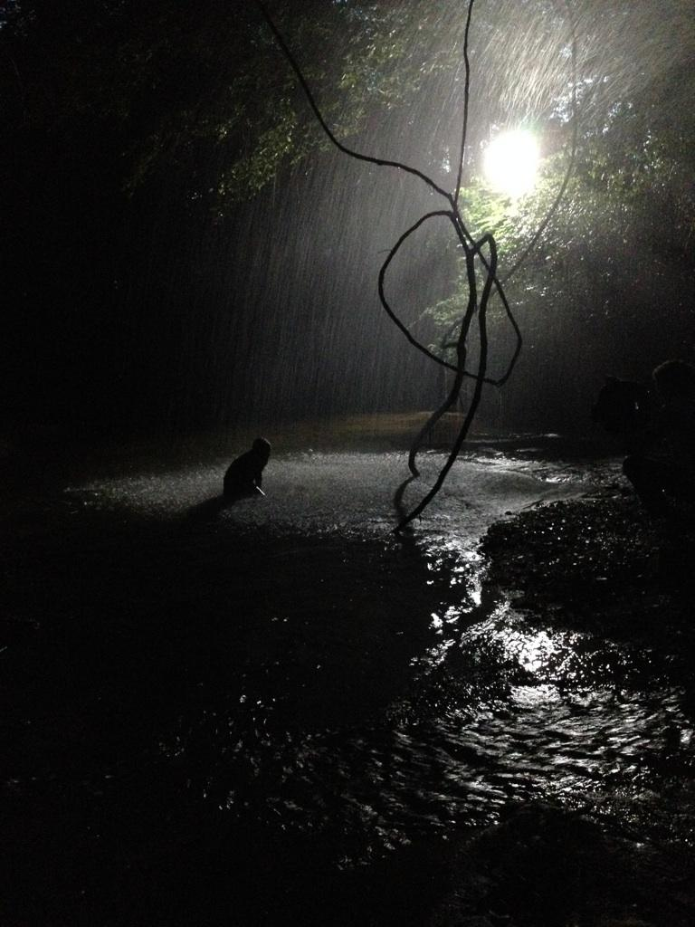 On location with Maggie and our rain machine at the creek!