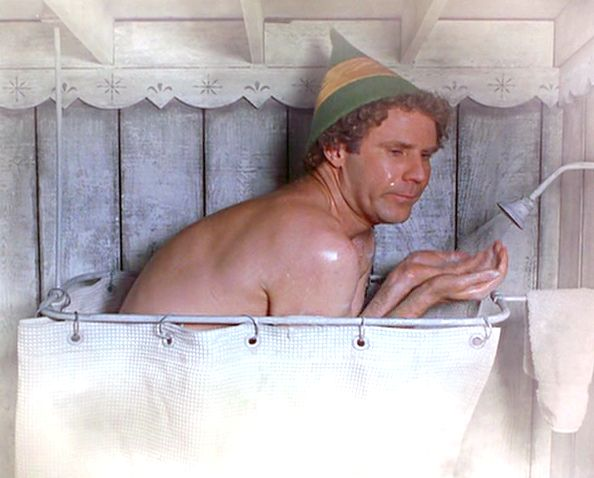 Mike showering
