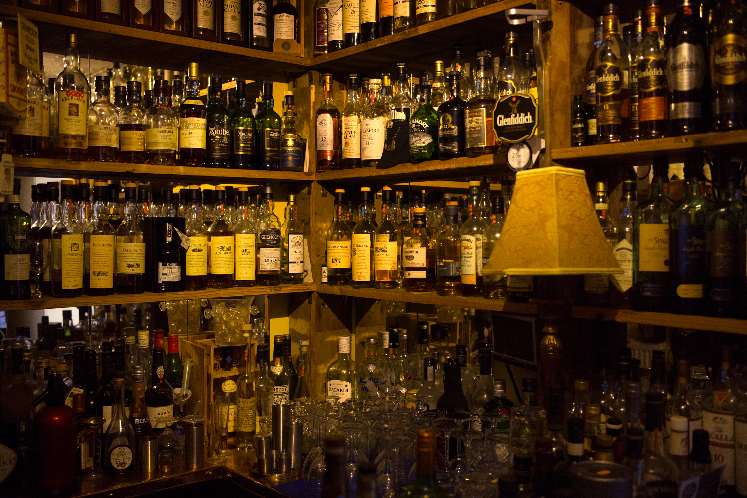 The whisky selection at the Tannochabrae Guest House in Dufftown.