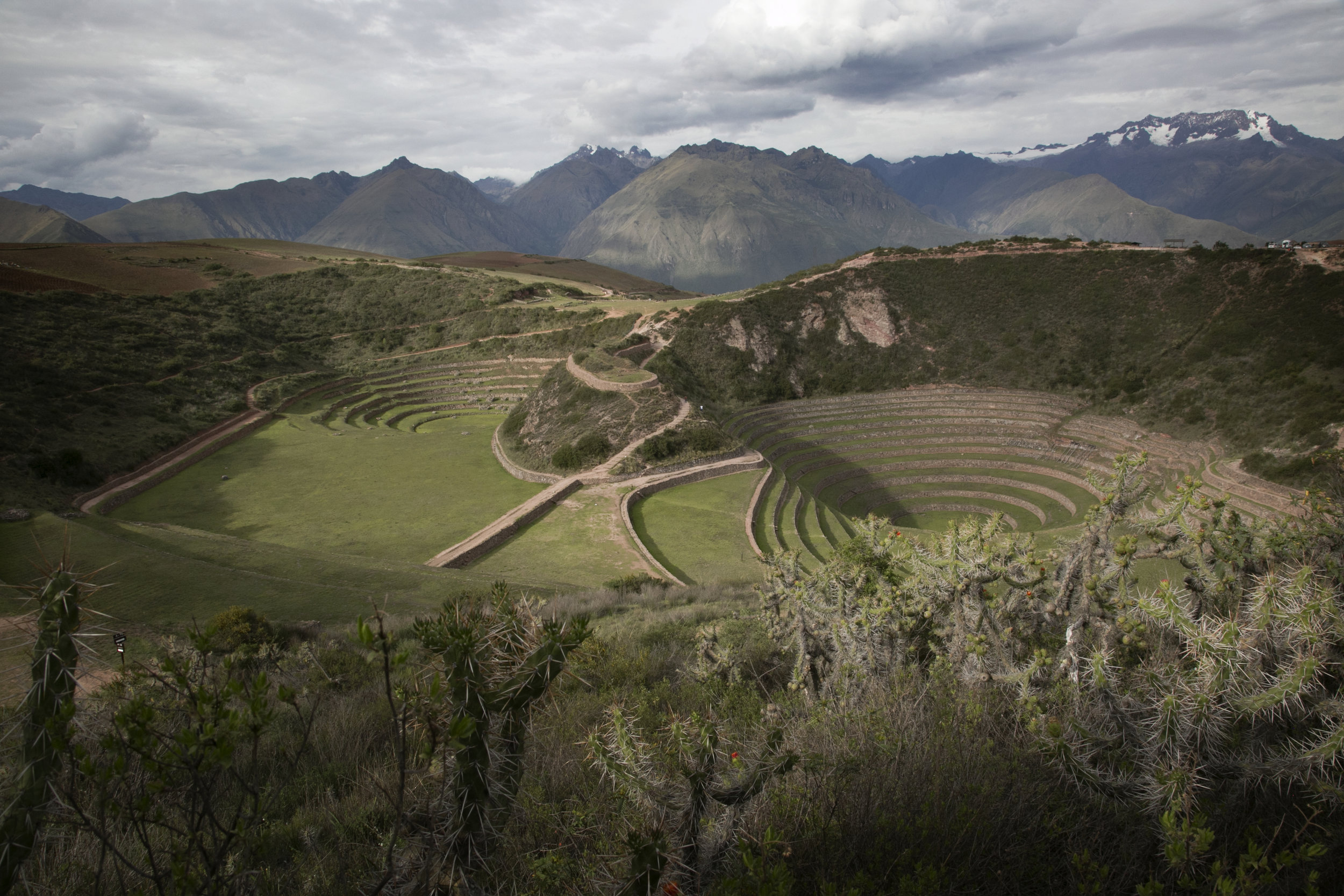 The circular terraces of Moray remain mysterious. The Inca may have sued the side for agricultural experiments, testing various crops at each level's microclimate.