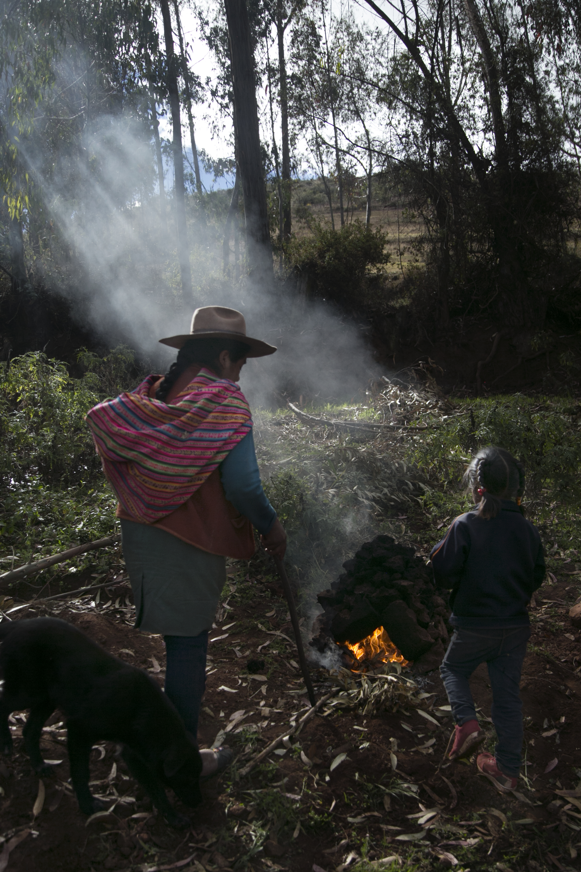Claudia Carihuan tends a sod  huatia  oven where she will roast potatoes and fava beans.