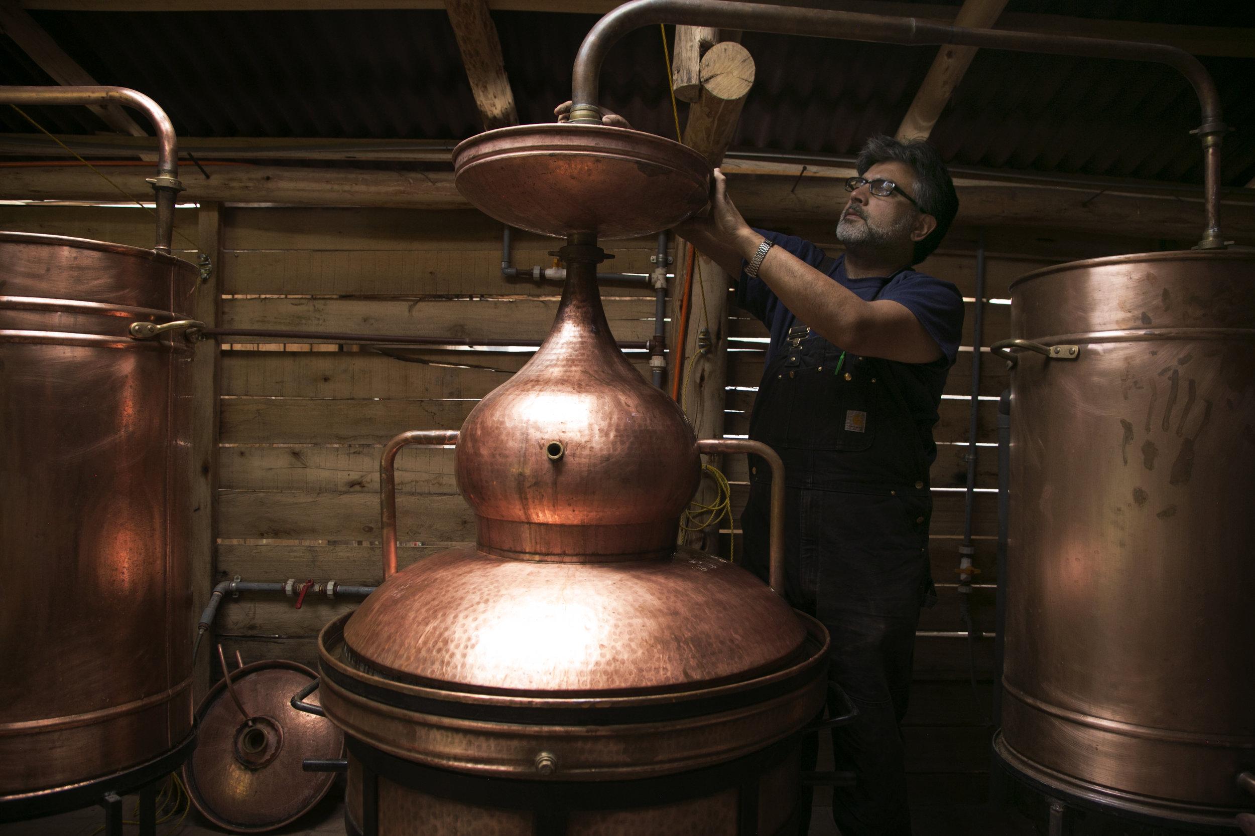 Haresh Bhojwani sets up a still at his  Destileria Andina  where he's revolutionizing  canazo  rum.