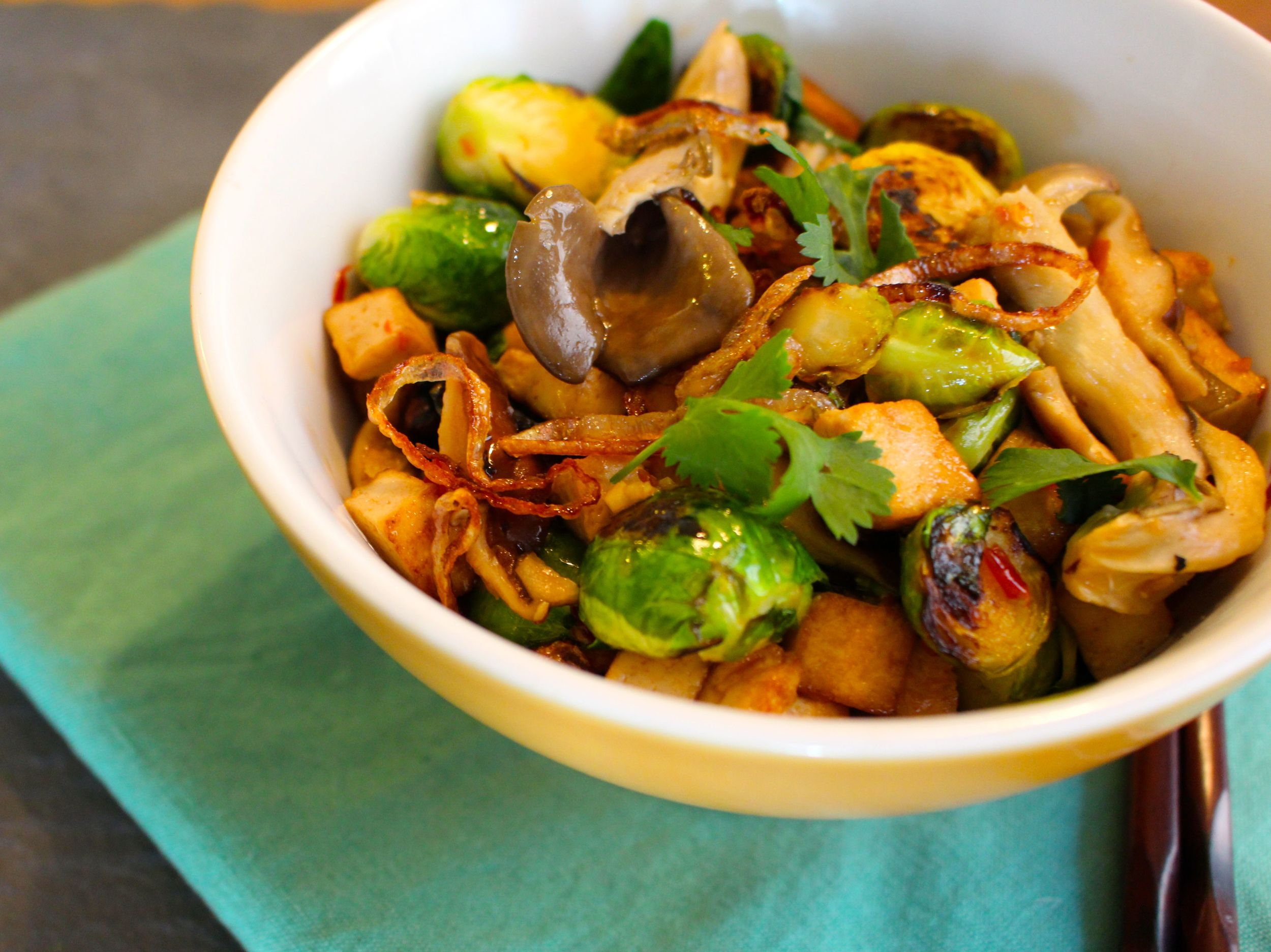 Sweet Chili Brussels Sprouts with Tofu and Mushrooms