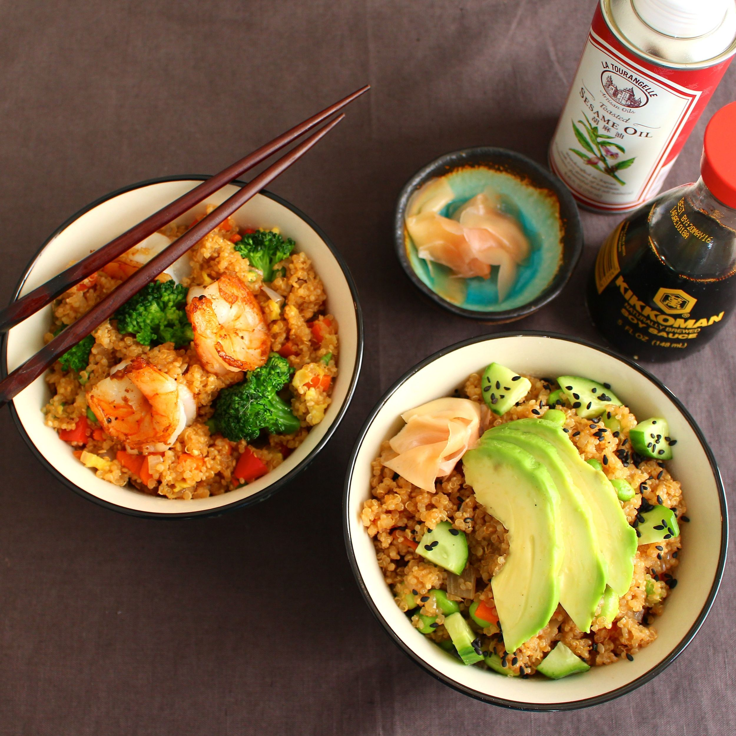 Shrimp Fried Quinoa & Sushi Bowl Style