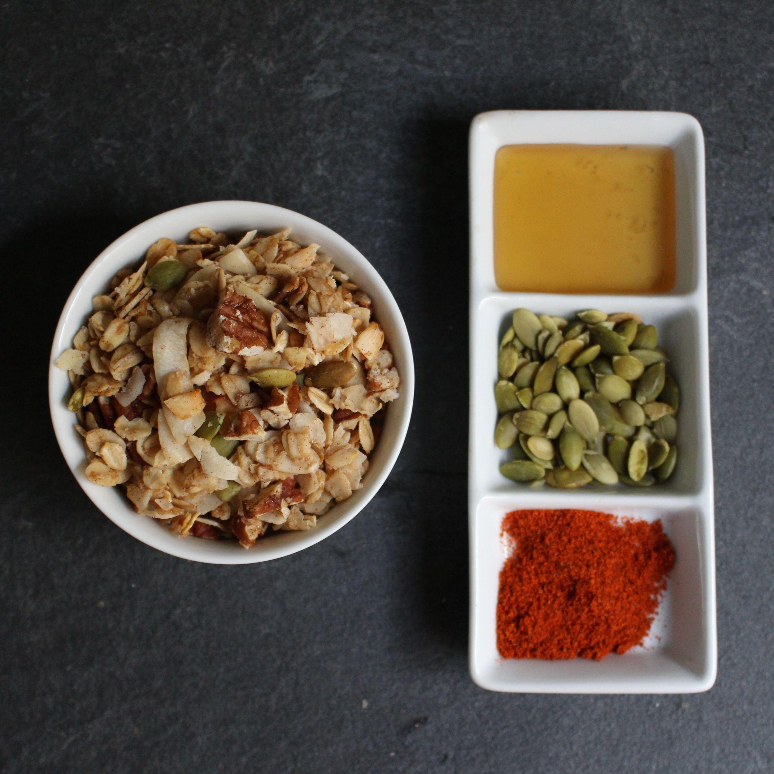 Maple, pepitas and cayenne spice up basic granola