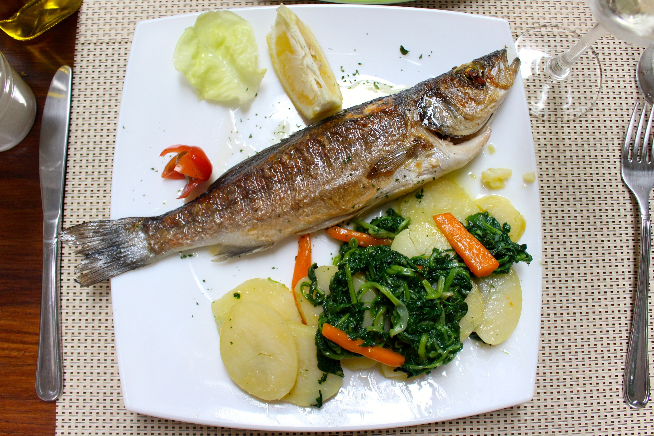 Blitva accompanies a perfect little sea bass at a restaurant in Korcula, an island off the coast of Croatia