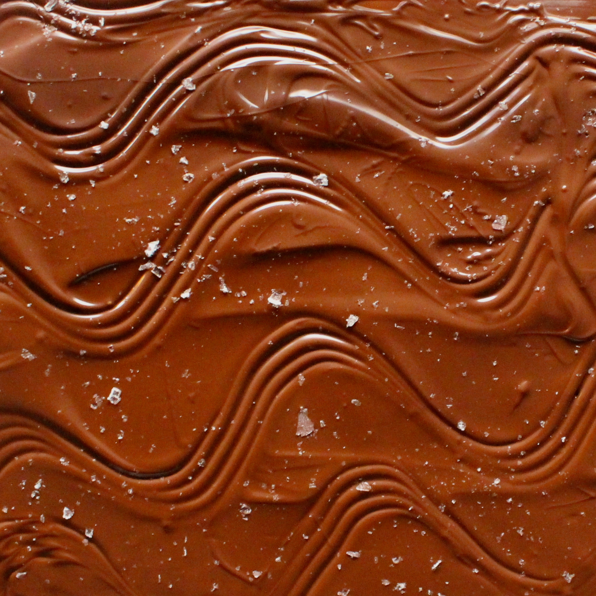 Create a wavy pattern in the chocolate, then add salt