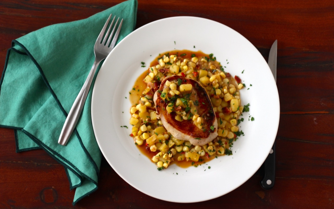 Pork Chops with Corn, Bacon and Marsala