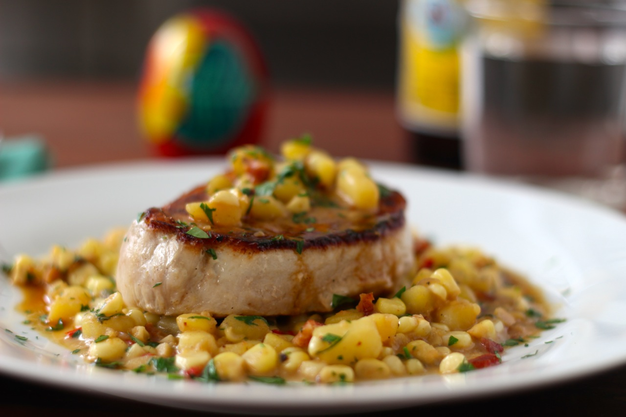 Pork Chops with Bacon, Corn and Marsala