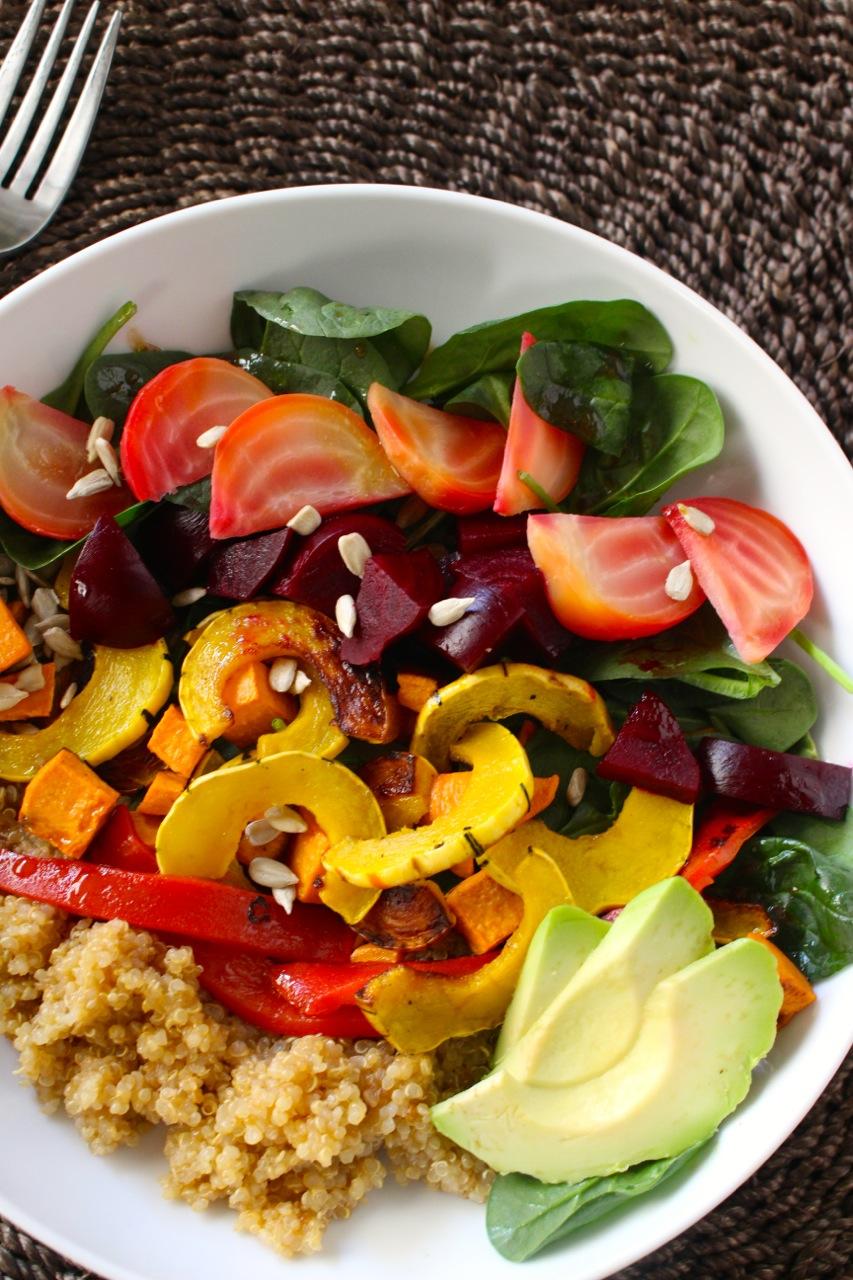 Roasted Roots Rainbow Salad - Borrowed Salt