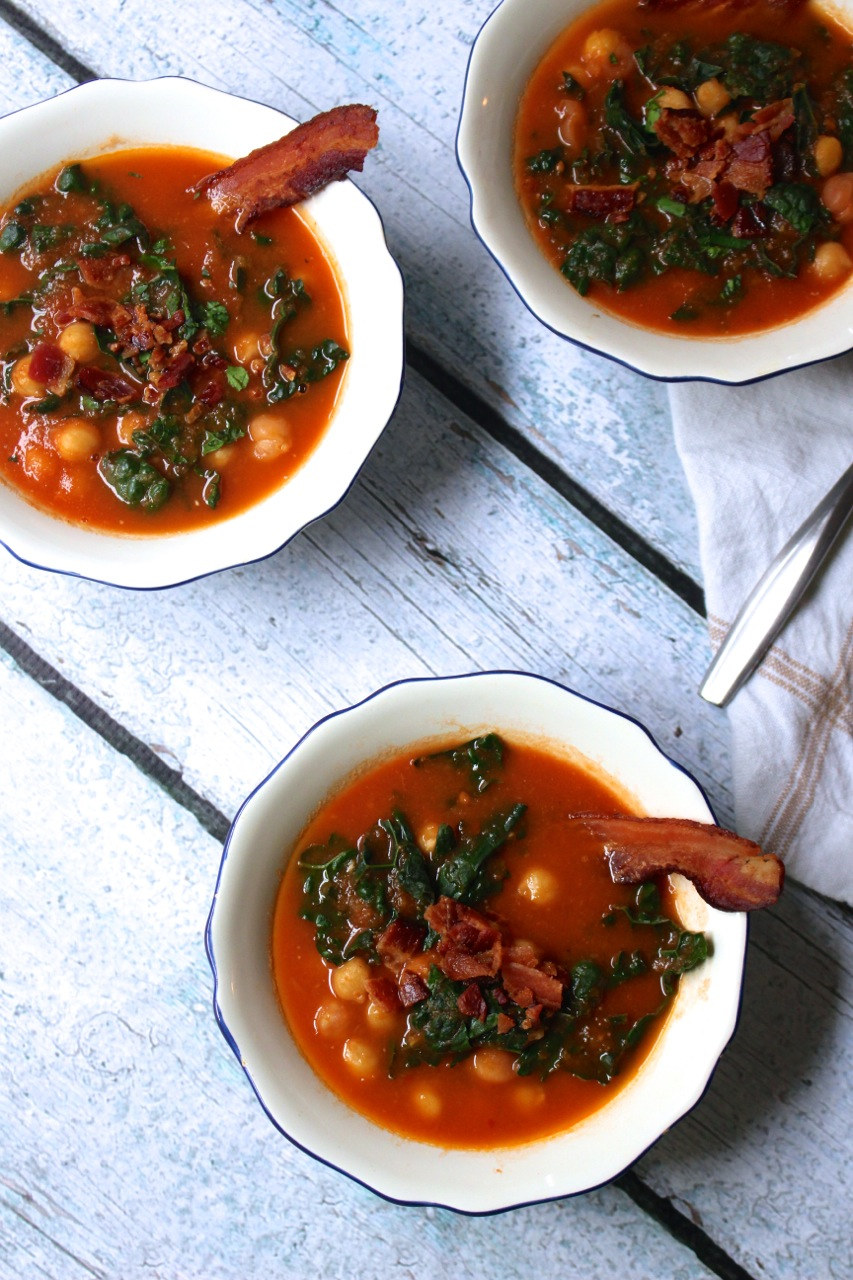 Smoky Tomato Bacon Soup with Kale and Chickpeas - Borrowed Salt