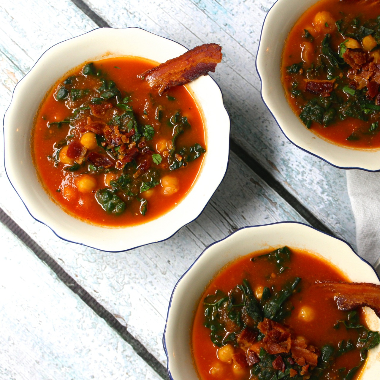 Smoky Tomato Bacon Soup with Kale and Chickpeas