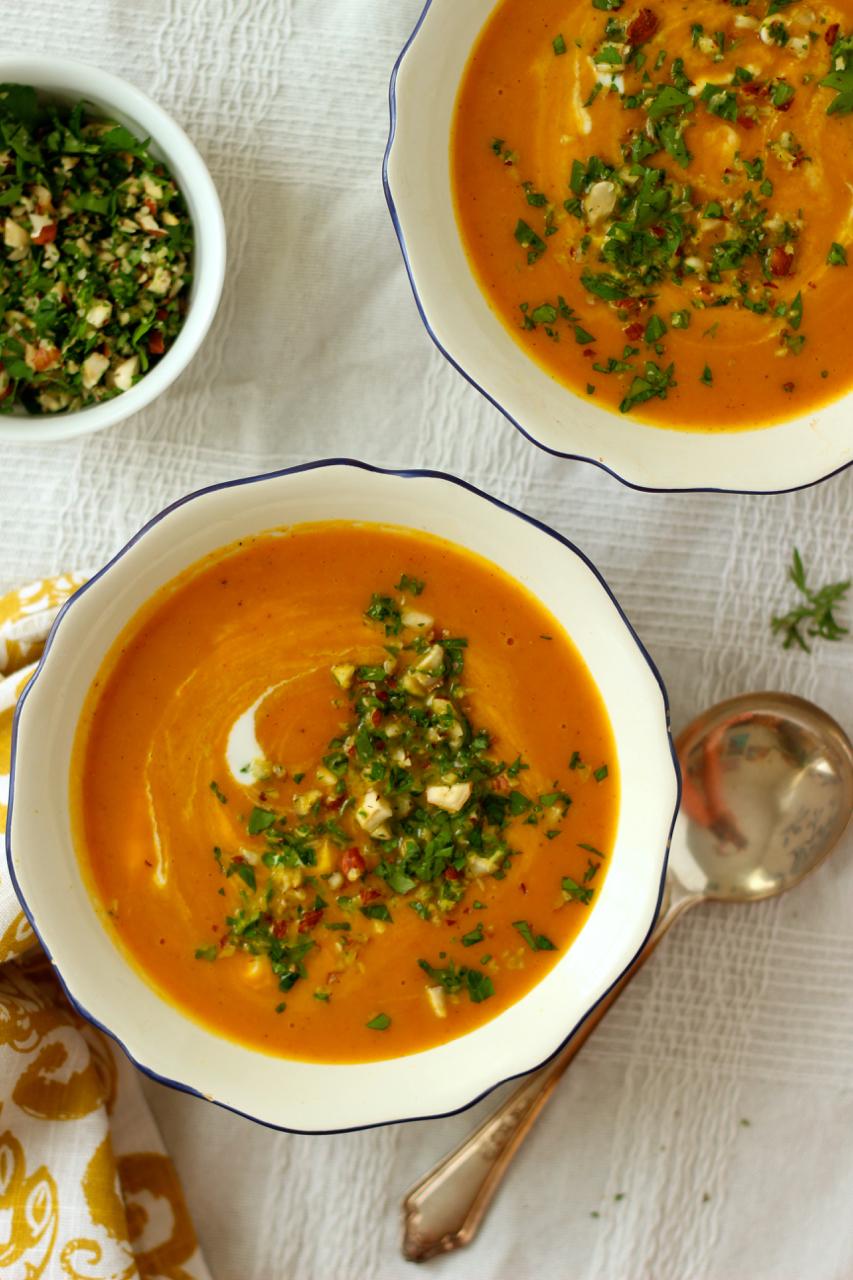 Carrot and Sweet Potato Soup - Borrowed Salt