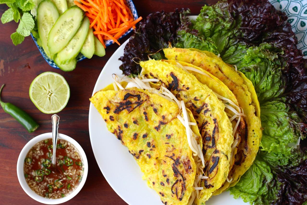 Banh Xeo Crispy Vietnamese Crepes With Shrimp