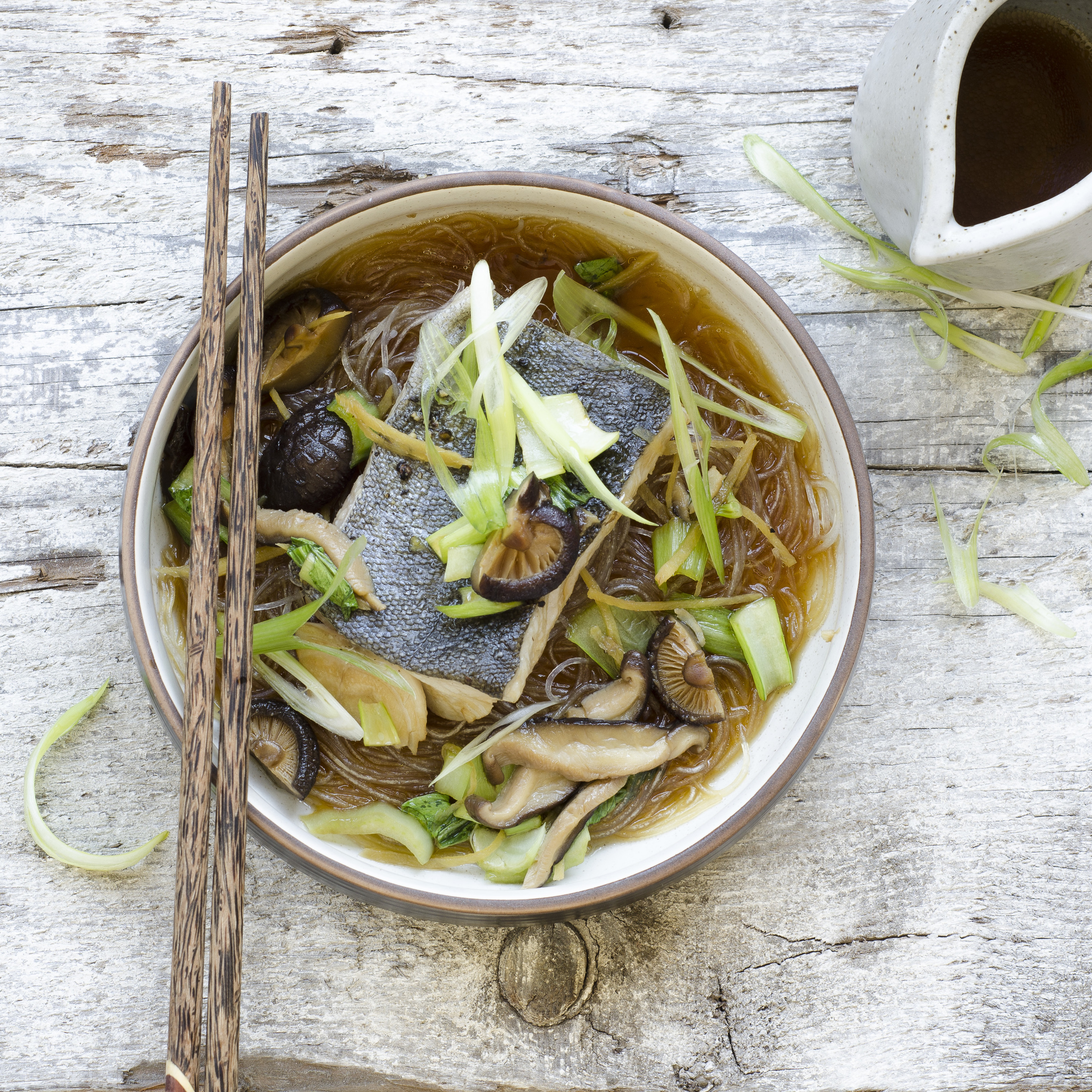 Braised Fish with Bok Choy in Shiitake Broth