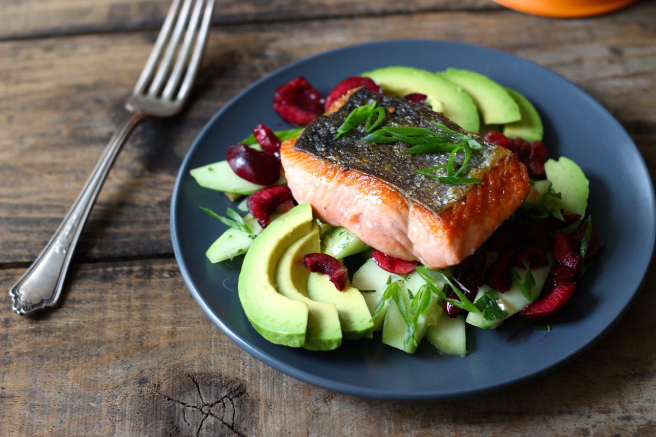 Salmon with Cucumber, Cherry and Avocado - Borrowed Salt