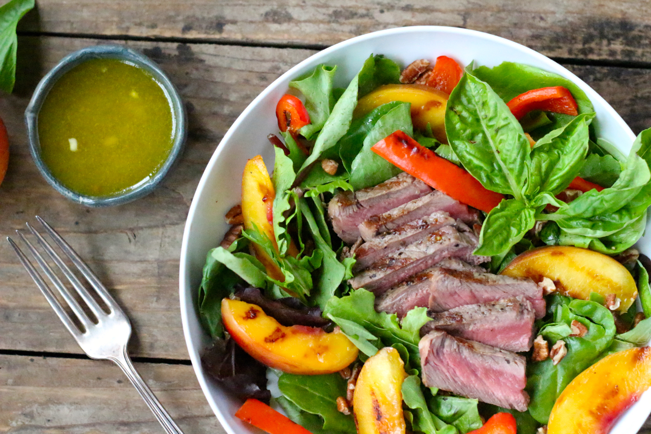 Steak Salad with Grilled Nectarines, Red Peppers, Pecans and Basil