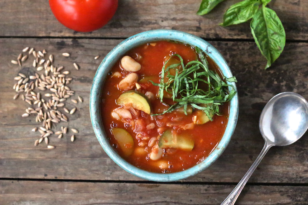 Tomato Soup with Zucchini, Farro and White Beans - Borrowed Salt